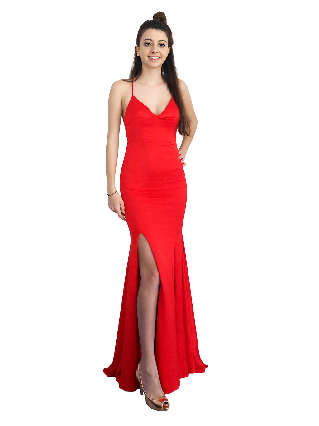 Reema bright red satin folded v-neck mermaid dress