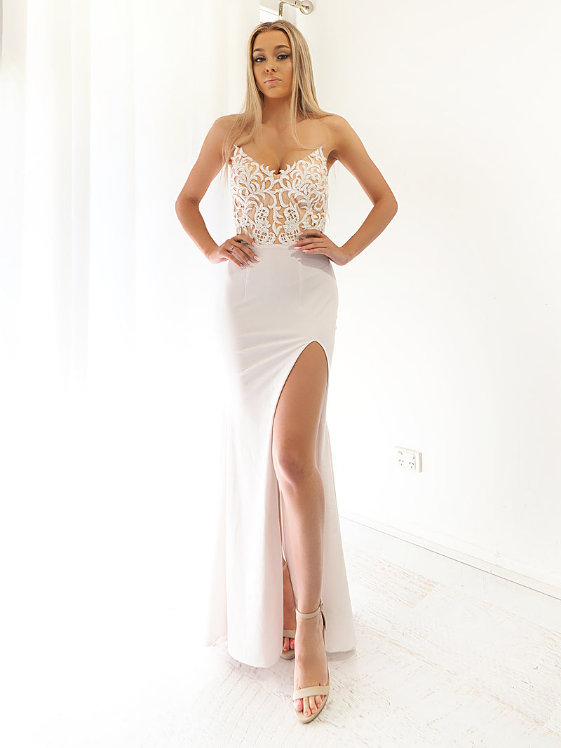 Annika white lace on nude mermaid dress with slit