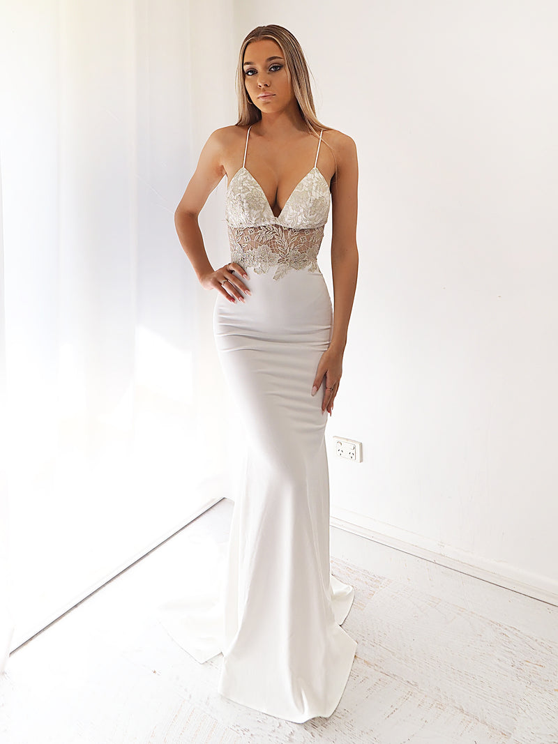Amiyah gold lace white mermaid dress