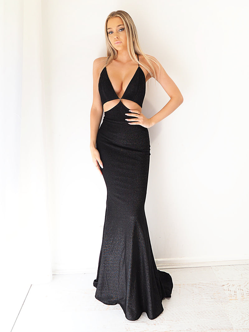 Talia black cutout shimmering mermaid dress