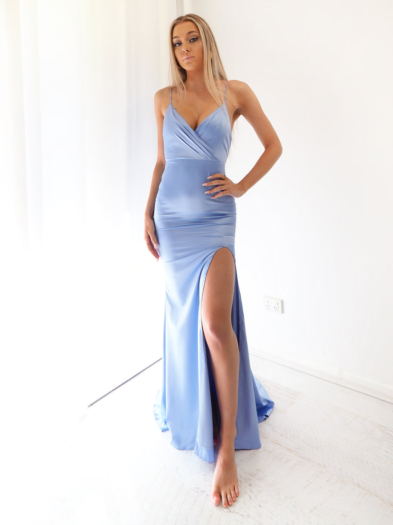 Erinda periwinkle Blue Satin mermaid dress with slit