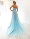 Litaya baby blue tulle bustier strapless princess dress with slit