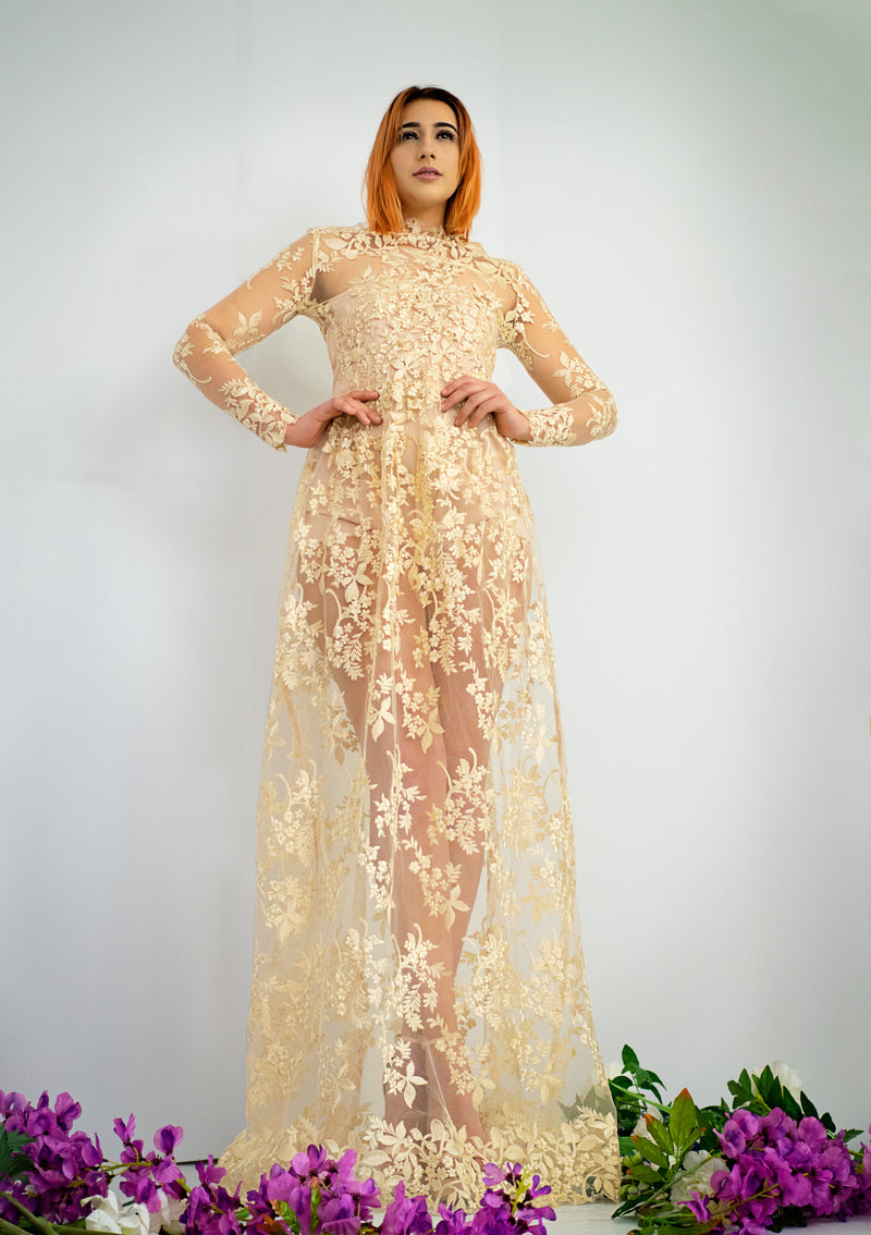 Oh my goddess gold lace dress