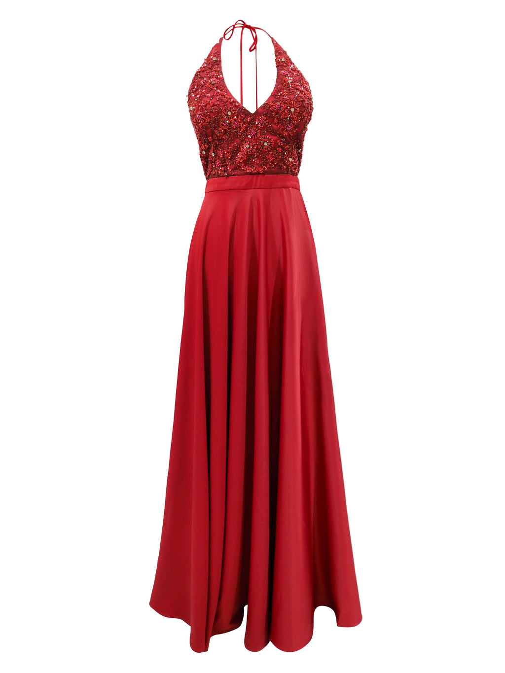 Juliette dark red satin a-line dress with beaded top