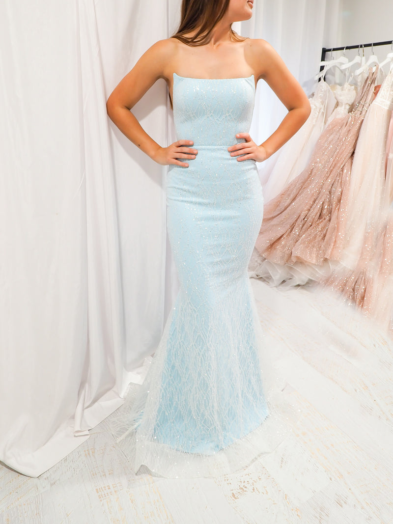 Crispin celeste blue sparkling mermaid dress crescent moon neckline
