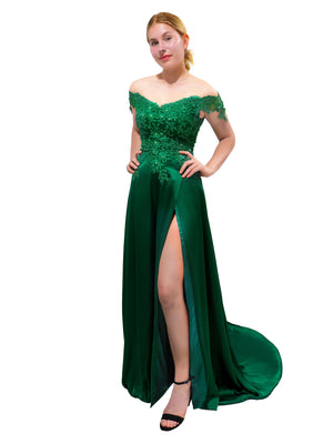 Jayde emerald green silk satin off the shoulder dress with lace top