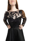 Milano black taffeta dress with lace top and long sleeves