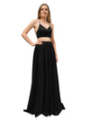 Chloe black two piece dress with cris-cross back