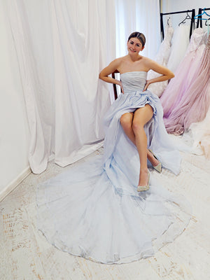 Icy blue rose silk organza high and low dress