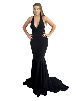 Grace multi-wrap black mermaid dress