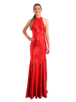 Chelsea red sequin mermaid dress with high halter neck