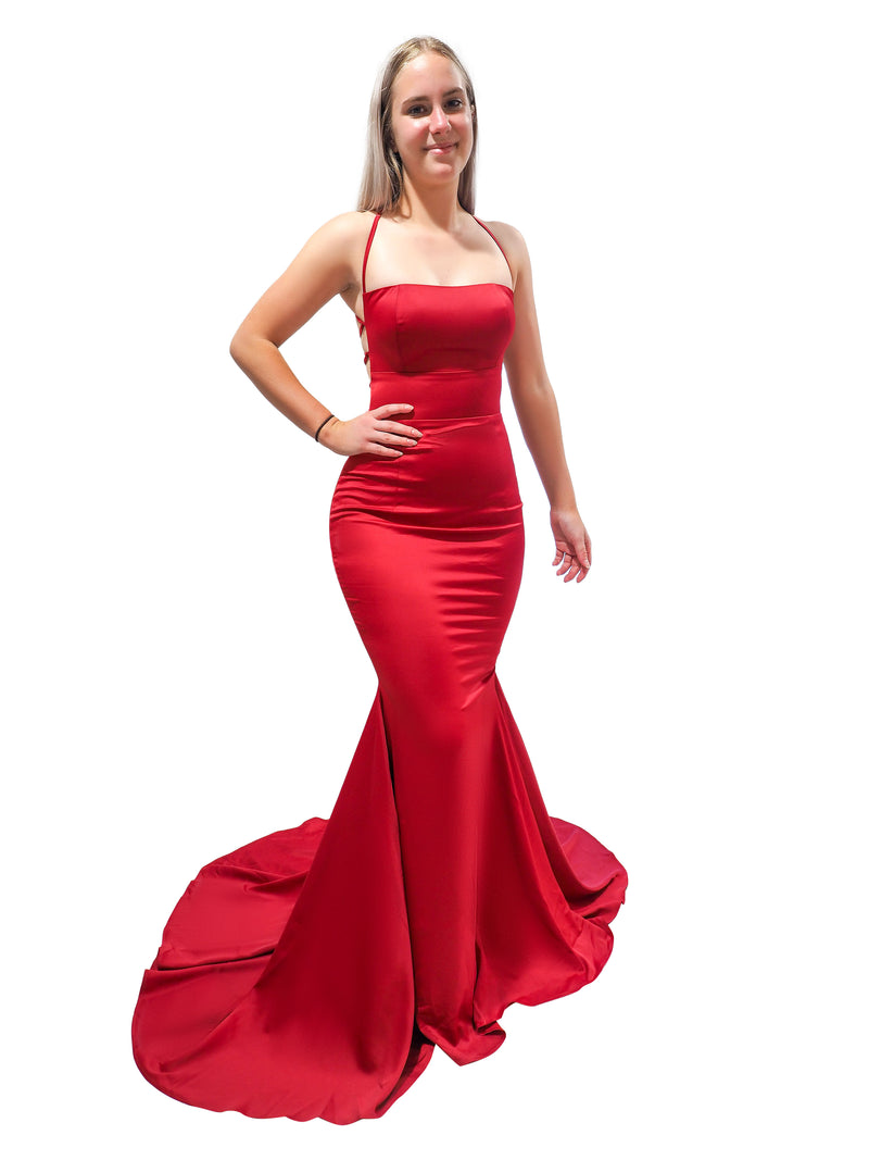 Kayala dark red satin criss-cross back mermaid dress