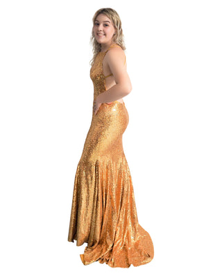 Gold Goddess sequin mermaid dress with halter-neck