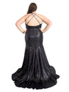 Katelyn black goddess sequin mermaid dress with V-neck