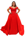 Ella off the shoulder red taffeta sequin lace top