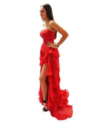Eden red silk layered dress
