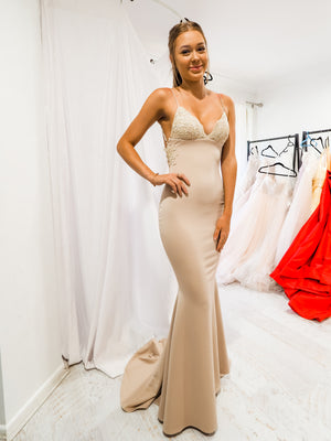 Daniella nude and gold lace mermaid dress