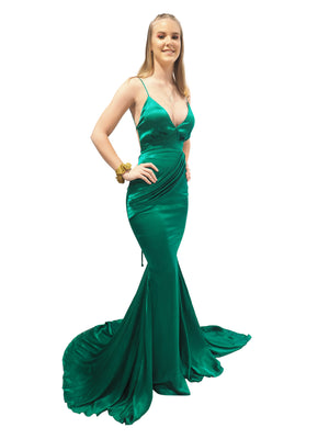 Rachel emerald green satin mermaid dress with cris-cross back