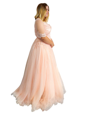 Savannah Rain peach blush tulle dress