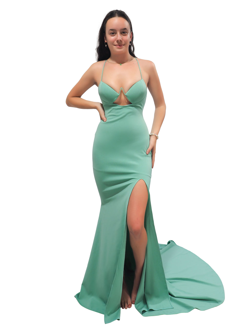 Jade pastel minty green mermaid dress with bustier cups