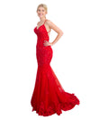 Alani red lace mermaid dress
