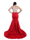 Caitlyn red lace halter neck dress