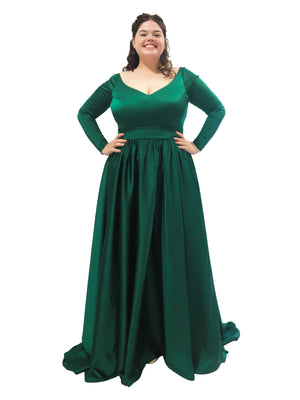 Livvy dark emerald green long sleeve dress