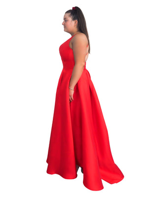 Rachael bright red taffeta dress