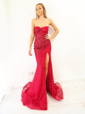 Elissa sparkling dark red mermaid dress with bustier top for hire