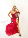 Elissa sparkling dark red mermaid dress with bustier top
