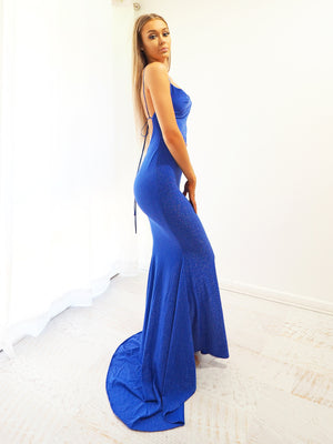 Lana  sparkling royal blue cowl neck mermaid dress