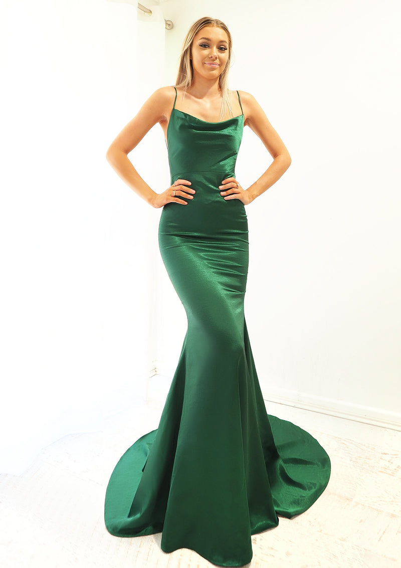 Lana green satin cowl neck dress