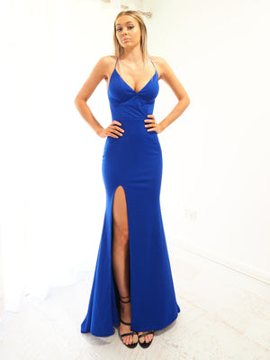 Brooklyn royal blue stretch knit wrap front dress for hire