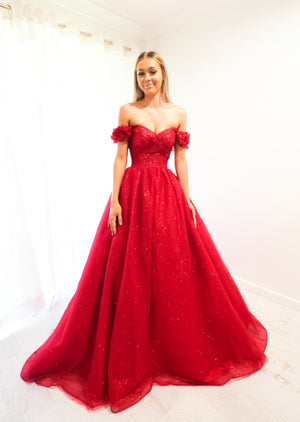 Belle sparkling dark red tulle princes dress for hire