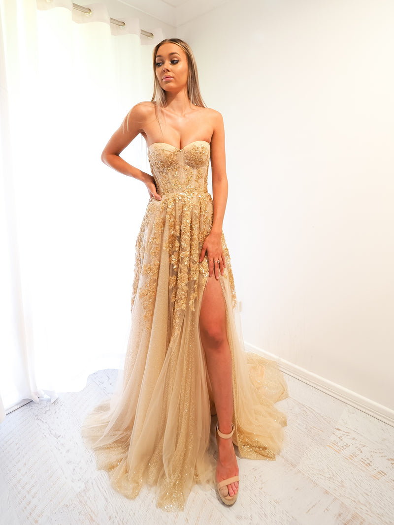 Asana sparkling gold bustier dress for hire