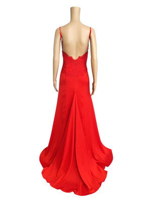Kellie bright red satin dress with lace detailed v neck