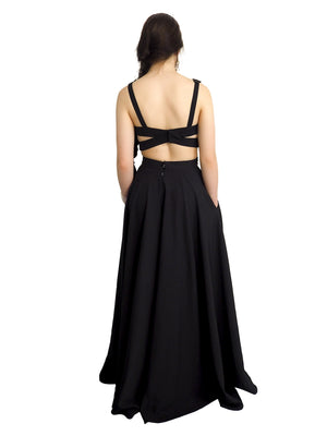 Casey black two piece cut-out dress with black lace details