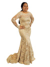 Aniela gold lace long sleeved mermaid dress