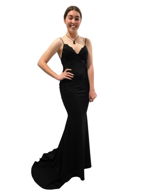 Leah black mermaid dress with lace details