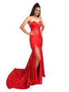 Nathalia red sequin strapless mermaid dress with high slit