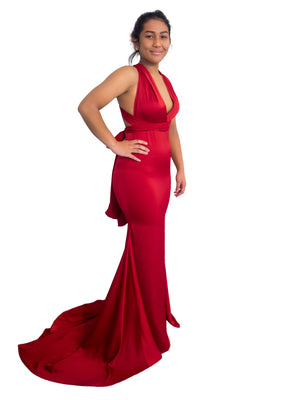 Misa Multiwrap dark red satin dress