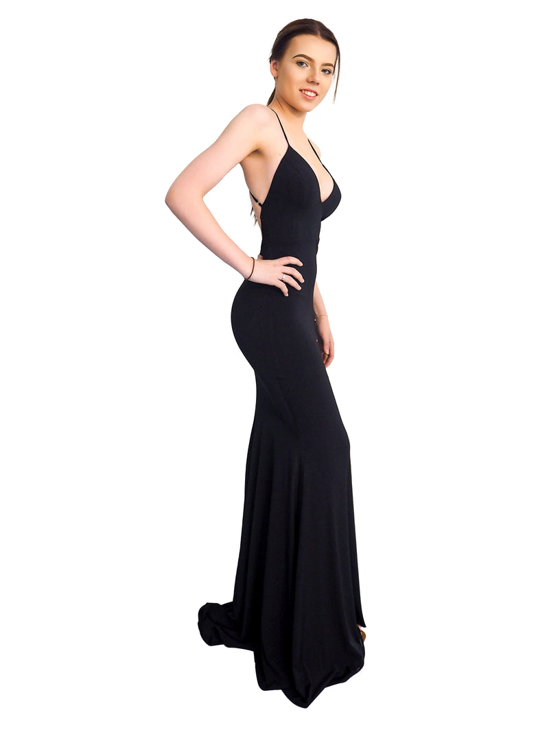 Zali black jersey mermaid dress with deep v-neck