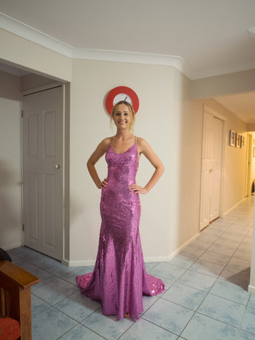 Pink sequin Glamourous Me mermaid dress