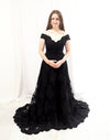 Natika black lace off the shoulder dress with beaded bodice