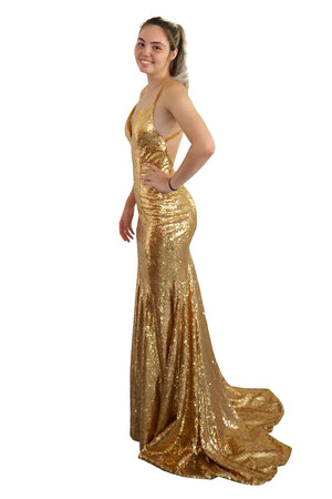 Gold Goddess sequin mermaid dress with V-neck