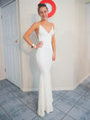 Hannah white sequin backless mermaid dress