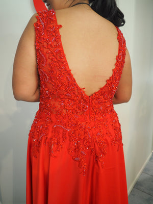 Anna bright red satin dress with lace beaded top