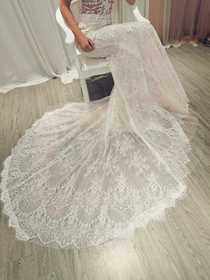Balie blush pink chantilly lace  mermaid dress