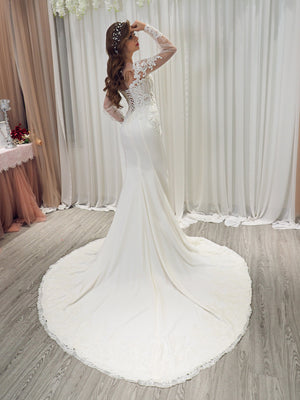 Audree bridal satin mermaid dress with long poofy sleeves