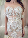 Bailey white lace with nude lining dress